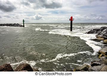 Entry to Thorsminde fishing harbor, Denmark - Entry to...