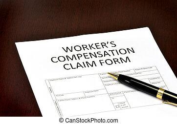 entschädigung, arbeiter, form