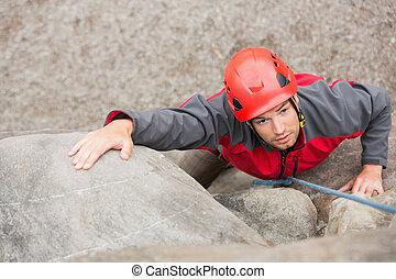 entschlossen, mann klettern, schaukeln gesicht