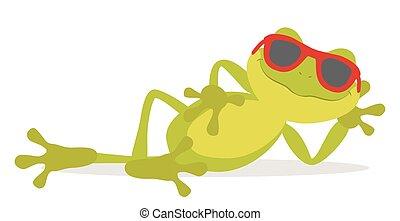 entspannen, faule, frosch