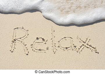 entspannen, geschrieben, in, sand, auf, sandstrand