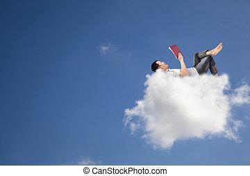entspannen, und, lesend buch, auf, der, wolke