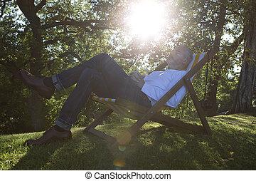 entspannend, auf, deck, stuhl
