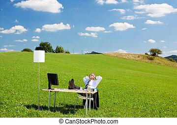entspannend, businessperson