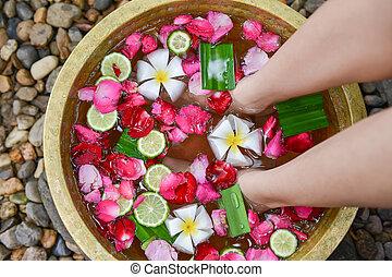 entspannend, für, fuss- massage, 4