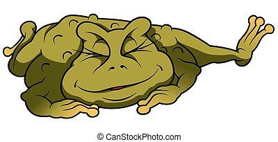 entspannend, frosch