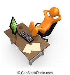 entspannend, in, büro