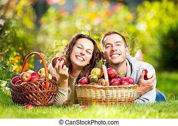 entspannend, paar, gras, essende, äpfel, herbst, kleingarten