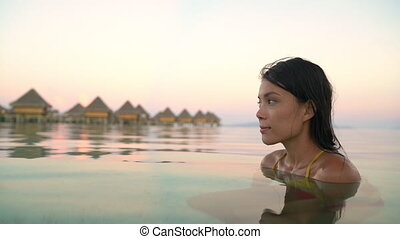 entspannend, sommer, frau, hotel, urlaub, gelassen,...