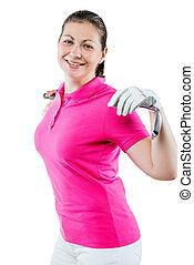 entspanntes, lächelnde frau, golfspieler, auf, a, weißer hintergrund