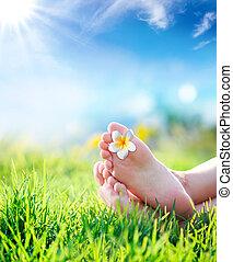 entspannung, berührung, mit, natur