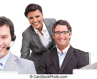 entusiástico, pessoas negócio, no trabalho