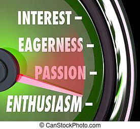 entusiasmo, nivel, pasión, interés, entusiasmo, velocímetro, calibrador