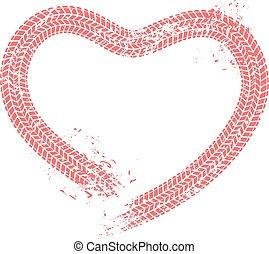 entusiasta, corazones, heart., pista del neumático, amor, valentines, ilustración, pistas, vector, automovilista, automóvil, grunge, tarjeta