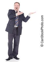 entusiasta, homem negócios, mostrando