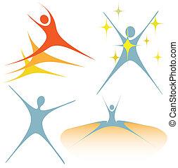 entuzjastyczny, swoosh, ludzie, jak, komplet, od, symbolika