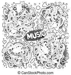 entwürfe, satz, sketchy, vektor, musik, doodles, karikatur