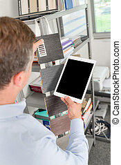 entwerfer, gebrauchend, a, tablette, edv