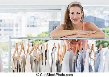 entwerfer, Mode, weibliche, gestell, kaufmannsladen, Kleidung