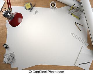entwerfer, zeichnung, tisch, mit, elemente, und, kopieren...