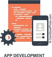 entwicklung, app, begriff, ikone