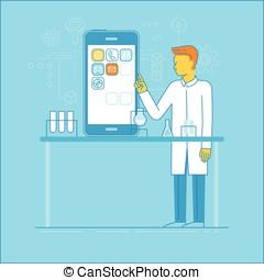 entwicklung, app, begriff
