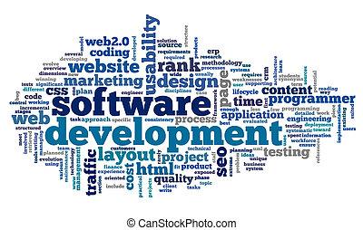 entwicklung, begriff, etikett, wolke, software