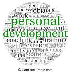 entwicklung, begriff, wort, persönlich, karriere, etikett, ...