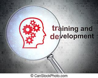 entwicklung, kopf, training, glas, optisch, zahnräder,...