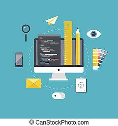 entwicklung, netz- design, programmierung