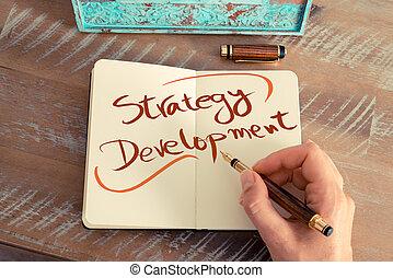 entwicklung, text, handgeschrieben, strategie