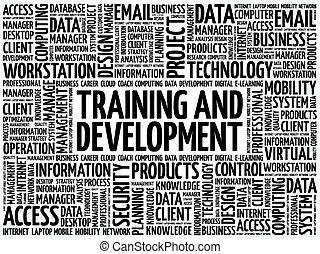 entwicklung, training, wort, wolke
