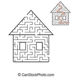 entwicklung, vektor, illustration., thinking., labyrinth, puzzel, conundrum., house., logisch, karikatur, spiel, answer., schwarz, räumlich, children., labyrinth, weißes, style., kids., nett