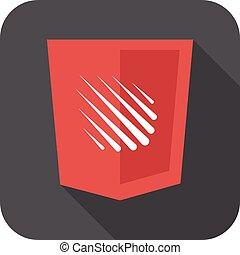 entwicklung, web, schutzschirm, grau, freigestellt, regen, zeichen, langer, meteor, schatten, abzeichen, ikone