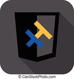 entwicklung, web, schutzschirm, sprache, h, -, freigestellt, zeichen, vektor, brief, haskell., programmierung, weißes, ikone