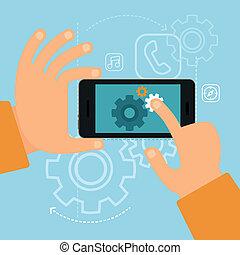 entwicklung, wohnung, stil, begriff, app, vektor