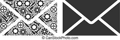envíe, collage, de, reparación, herramientas