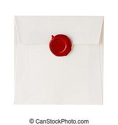 envíe, o, carta, sellado, con, sello de lacrar, estampilla, aislado, blanco
