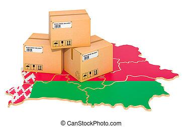 envío, 3d, belorussian, paquetes, concept., belarus, map., interpretación