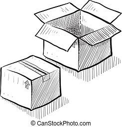 envío, caja, o, bosquejo