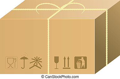 envío, caja, vector