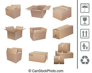 envío, cajas, colección