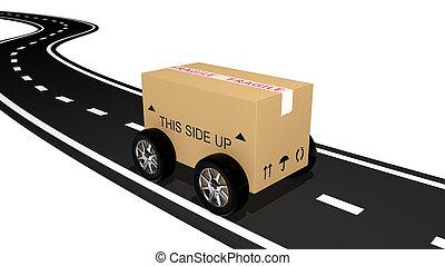 envío, cartón, camino