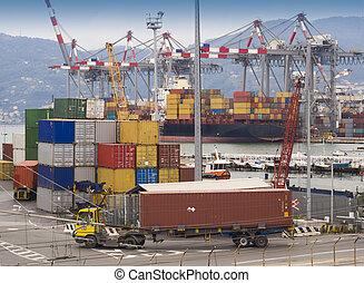 envío, contenedores, en, puerto