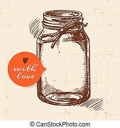 envase, tarro, bosquejo, rústico, vendimia, mano, dibujado, ...