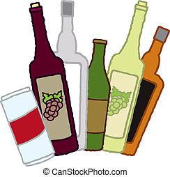 envases de la bebida, alcohólico