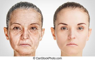 envejecimiento, concepto, viejo, rejuvenecimiento, proceso, joven, piel, anti viejo, procedimientos