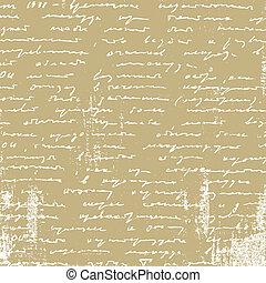envejecimiento, manuscrito, en, papel marrón, vector,...