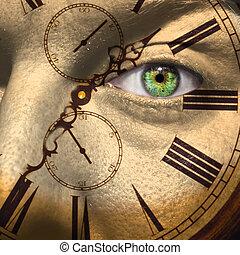 envejecimiento, o, bio, reloj, concepto