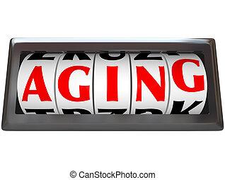 envejecimiento, palabra, en, odómetro, el tiempo pasar,...